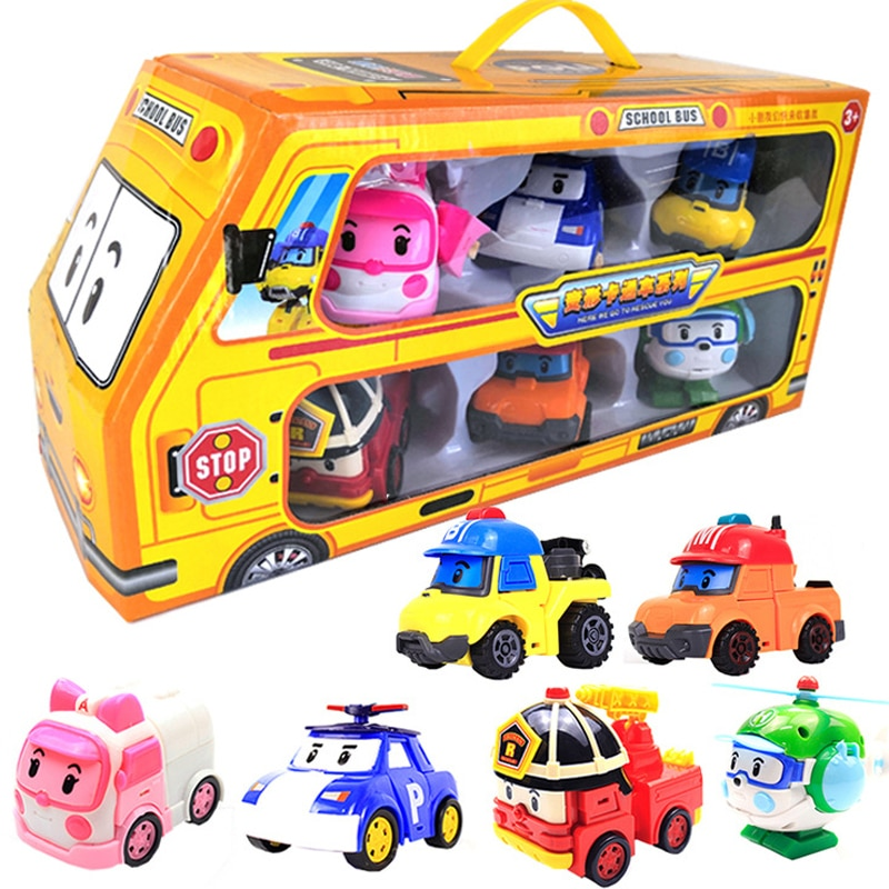 6pcs/set Original Box Robocar Poli Korea Kids Toys Robot Transformation Anime Action Figure Toys For Children Playmobil Juguetes