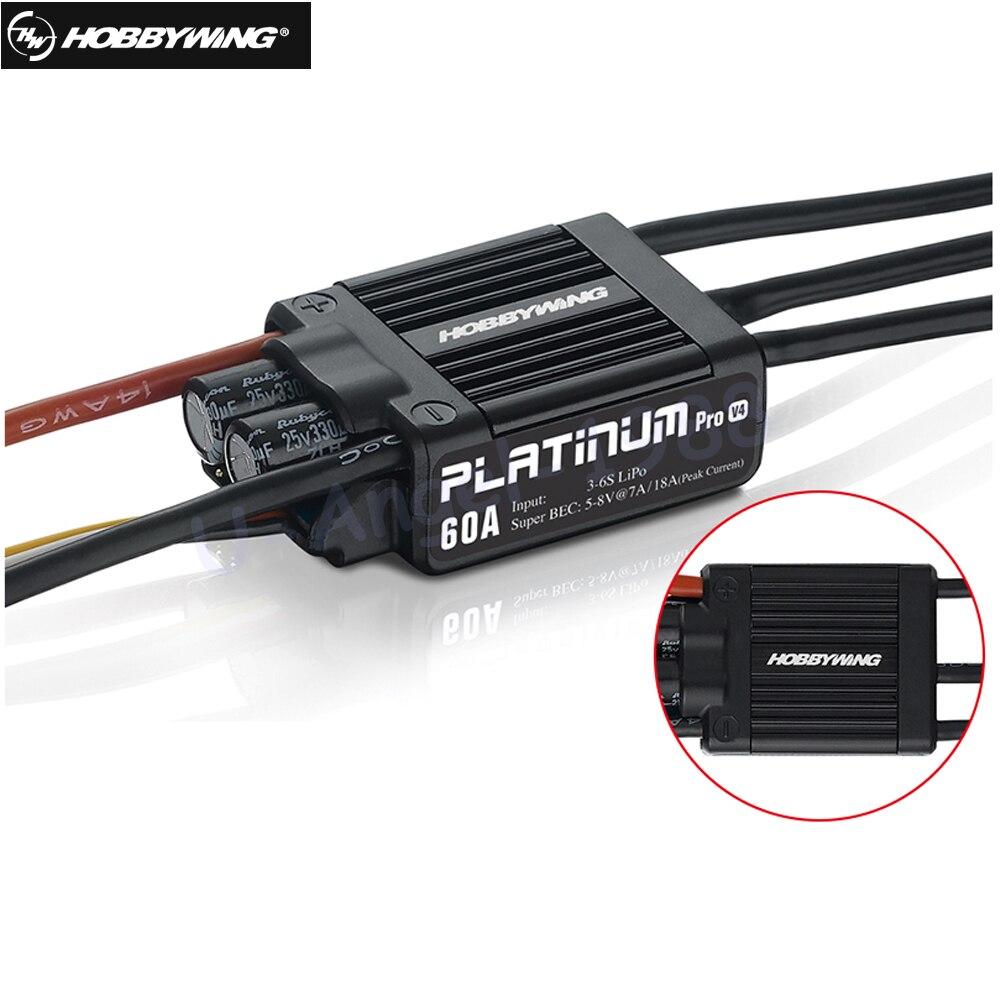 Genuine HobbyWing Platinum PRO V4 60A ESC (3 S-6 S) para 450-480 Classe Heli (Hélice 325-360mm)