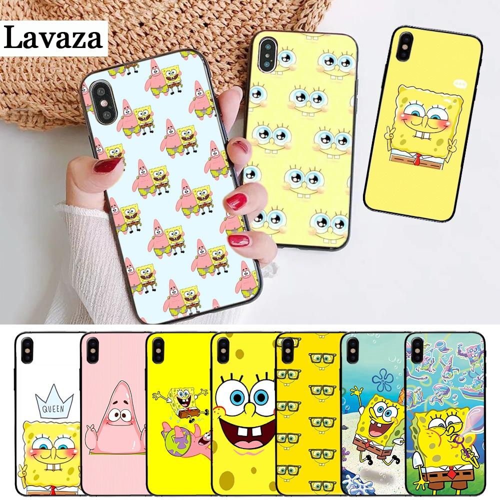 Square Pants Sponge Bob Pattern Silicone Case for iPhone 5 5S 6 6S Plus 7 8 11 Pro X XS Max XR
