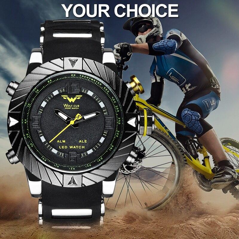 Спортивные мужские часы WOLF-CUB с силиконовым ремешком, модные повседневные СВЕТОДИОДНЫЕ Цифровые мужские черные военные кварцевые наручные ...