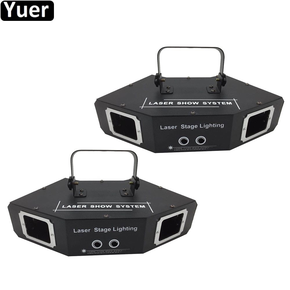 2 unids/lote luces de fiesta de sonido RGB cuatro ojos Sector láser Luz Disco DJ efecto proyector escáner láser etapa efecto iluminación