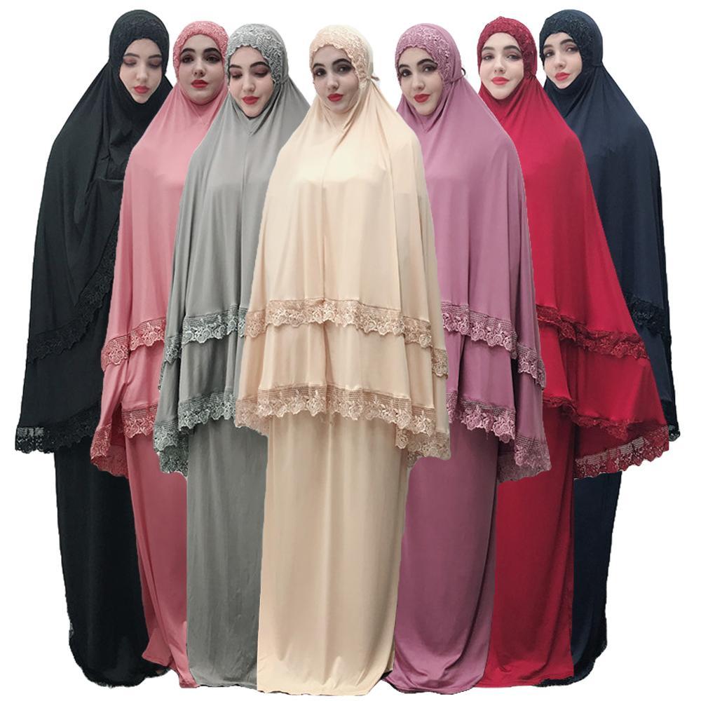 Mujeres Musulmanas bufanda larga Hijab falda Jilbab Maxi Ramadan Abaya Khimar bata de oración arriba 2 piezas Burqa ropa servicio de adoración
