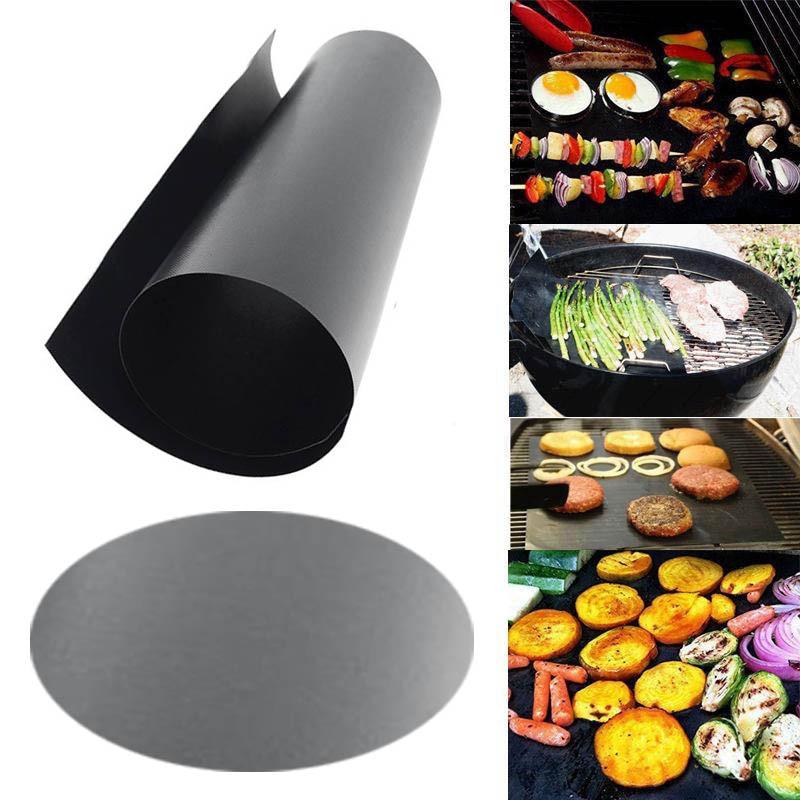 Alfombrilla redonda rectangular, no-stick de teflón para hornear del trazador de líneas de la parrilla de la barbacoa de horno de microondas reutilizable barbacoa cocinar herramienta