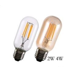 E27 Retro Edison Bulb 110V 220V 2W 4W T45 Incandescent W-filament Bulbs Crystal Chandelier Replace Light Wholesale 100 pcs