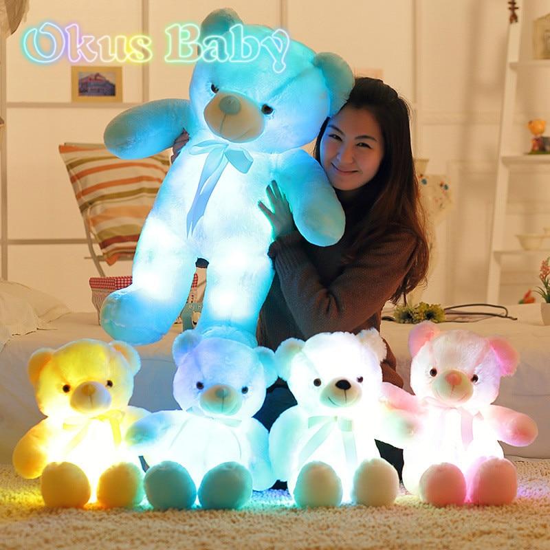 Светящийся плюшевый мишка 30/50/80 см, креативный светильник ящийся светодиодный Мишка, Набивная игрушка-Зверюшка, цветной светящийся Мишка, п...