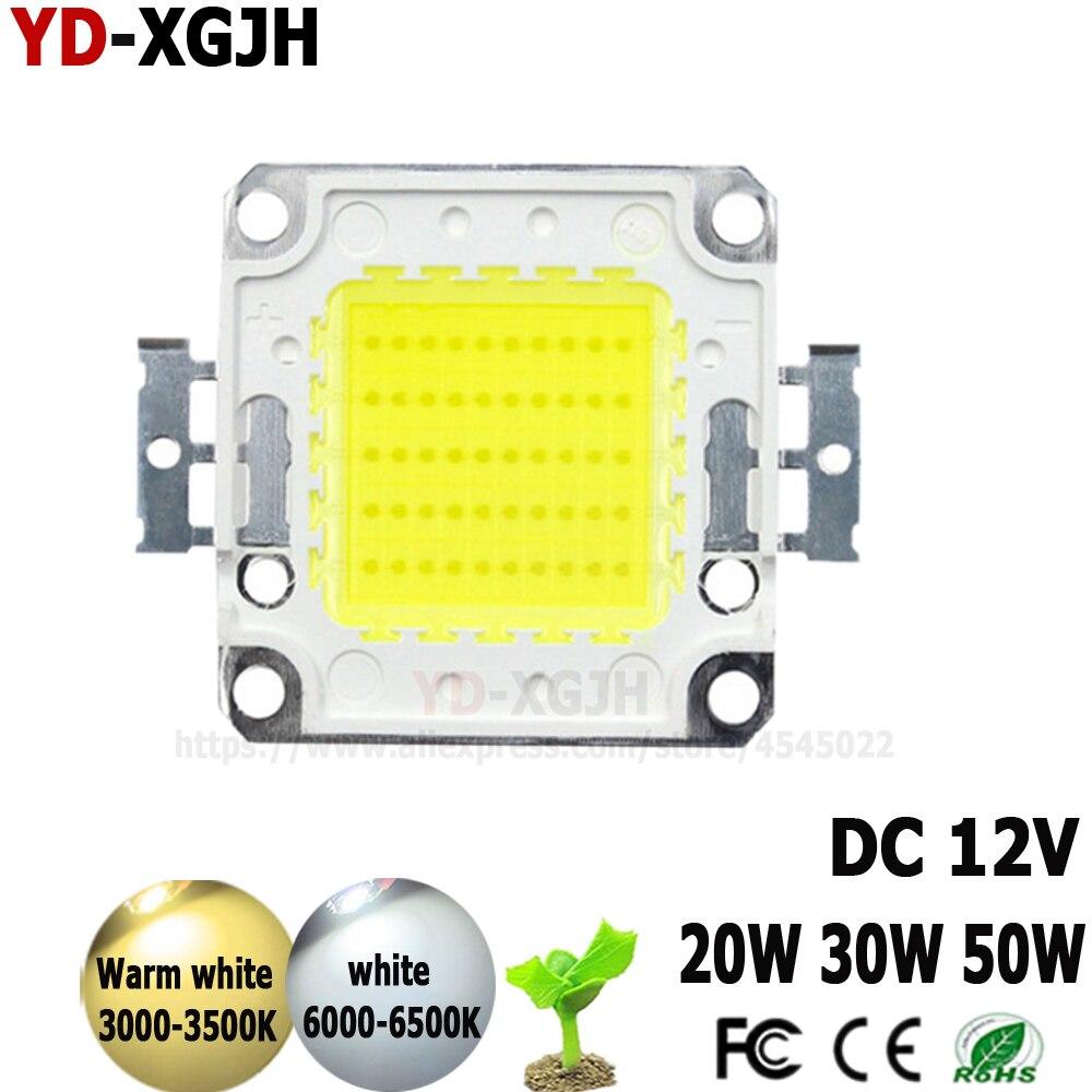 DC12V LED 20W 30W 50 W blanco cálido blanco LED Chip 20 30 50 W vatios para foco de proyección LED luces de ancho de iluminación al aire libre
