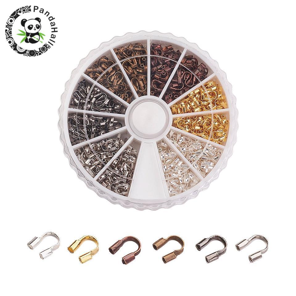 540 pçs/caixa protetores de fio de bronze protetores de fio guardião loops joias descobertas 5x4x1mm, furo 0.5mm; 6 cores cor misturada