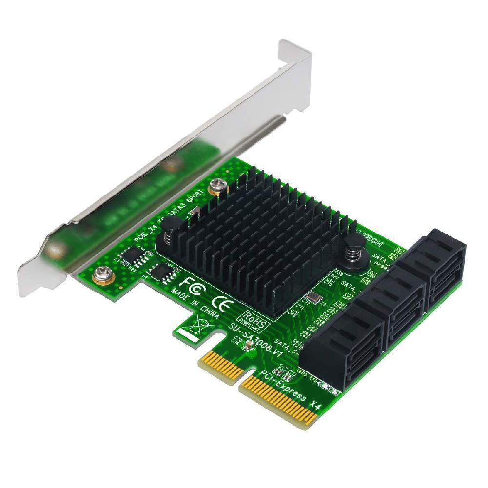 BEESCLOVER tarjeta de expansión tarjeta vertical PCIe 2,0 X2 a SATA III tarjeta adaptadora de 6 puertos para IPFS Mining Pci-e a SATA3.0 tarjeta de expansión