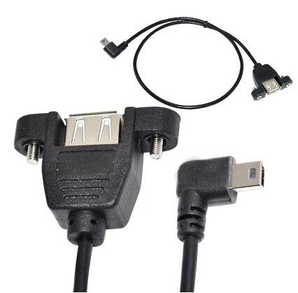 50 unids/lote 90 grados ángulo recto 5Pin Mini B macho A USB A hembra Cable de datos línea Panel montaje