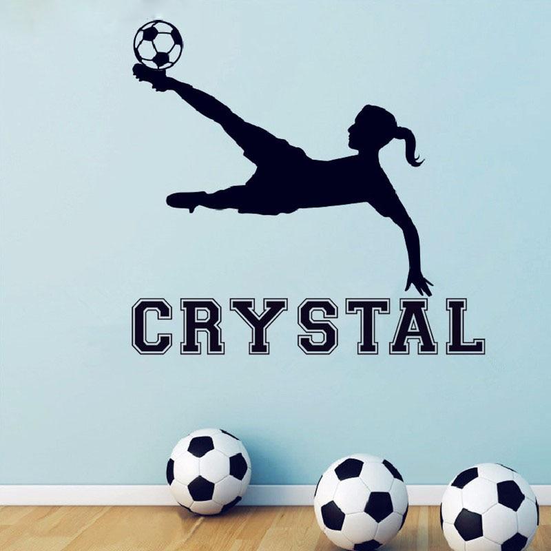 Freies Verschiffen Mädchen Fußball Vinyl Wandtattoo Benutzerdefinierte Mädchen Name Aufkleber, mädchen Zimmer Wand Kunst Wandbild Decor, fußball Tapete X205