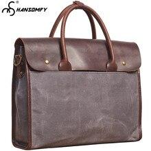 "15"" Laptop Bag Retro Diagonal Men Handbags Spanner Messenger Casual Men Crossbody Shoulder Bags Canvas with Genuine Leather Soft"