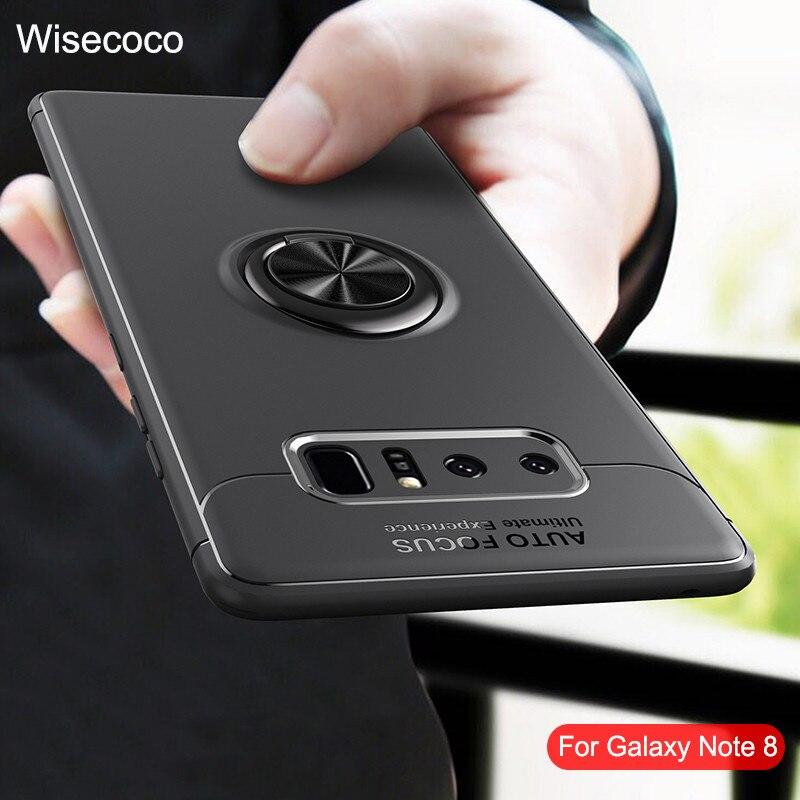 Fundas de teléfono para Samsung Galaxy Note 8, soporte magnético con anillo para coche, funda trasera de Tpu a prueba de golpes de silicona de lujo para Galaxy Note 8