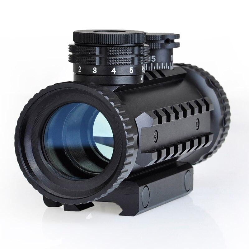 SEIGNEER táctico 1X30 punto rojo/verde con rieles RIS Rifle táctico alcance rojo punto de vista con RIS soporte de riel y tapa de lente AO3014