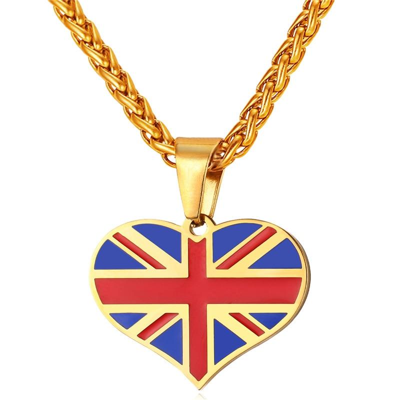 ¡Novedad! colgante de corazón de Reino Unido de acero inoxidable/Color dorado para mujer/hombre, joyería de bandera nacional Inglaterra patriota de moda GP2450