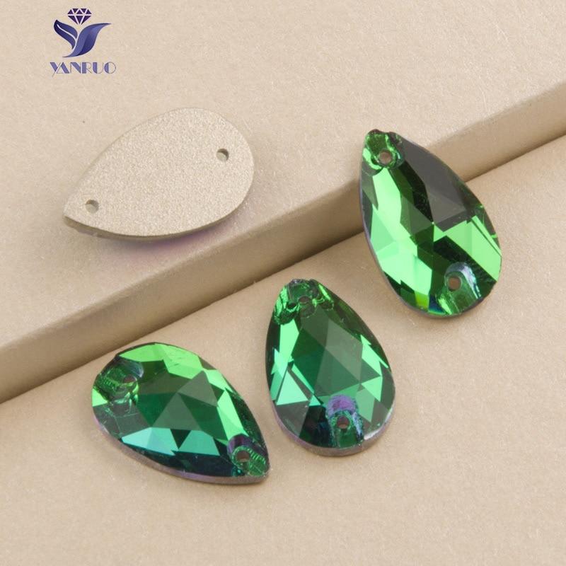 YANRUO 3230 gota Esmeralda superior piedras para coser de imitación de cristal espalda plana de Strass cristales vestido, costura piedras para manualidades para ropa