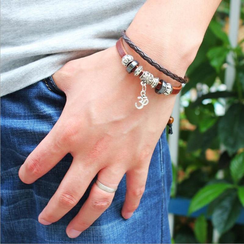 Кожаный браслет с подвеской для женщин и мужчин, кожаный двухслойный плетеный браслет для йоги, Будды, модные украшения