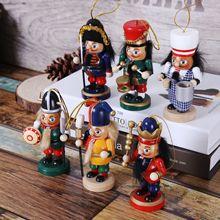 Zakka Nutcracker Gifts Puppet Mercenary Army Christmas Wooden Craft Gift Home Decoration Nautical Vintage Decor 6pcs/set