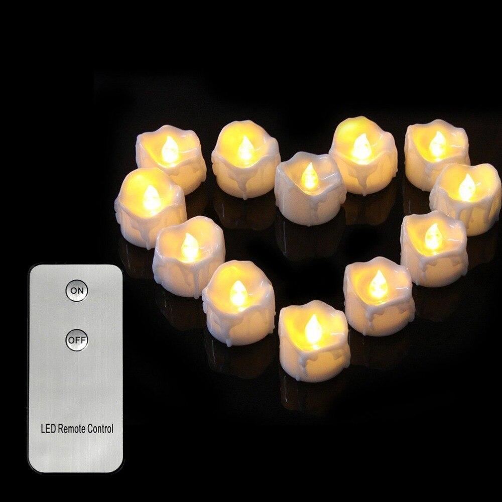 6 piezas de luz parpadeante vela sin llama blanca cálida con modo...