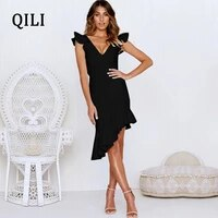 qili elegant ruffles asymmetrical women dress red black v neck sleeveless backless hollow out sexy dresses party club dress