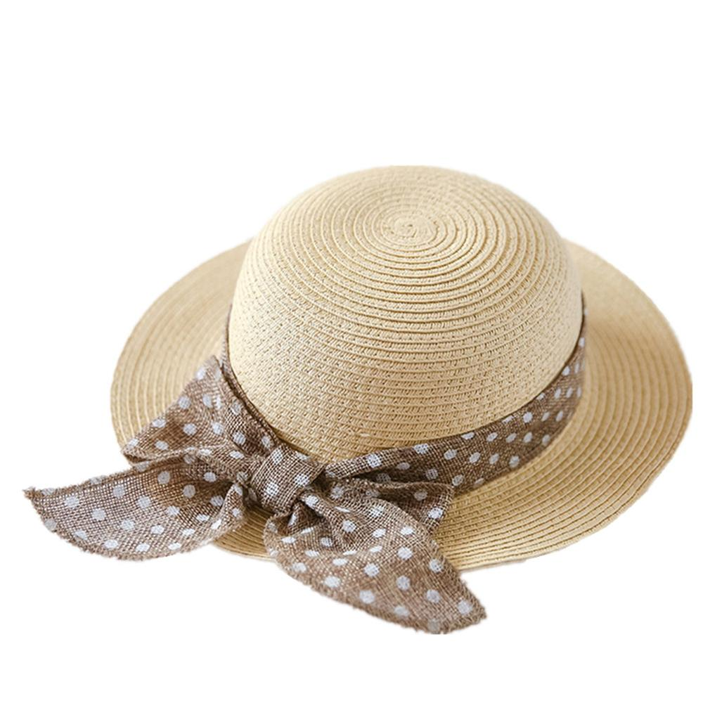Connectyle niños, Sombrero de Paja de verano, Bowknot, gorros de playa para protección solar para niñas