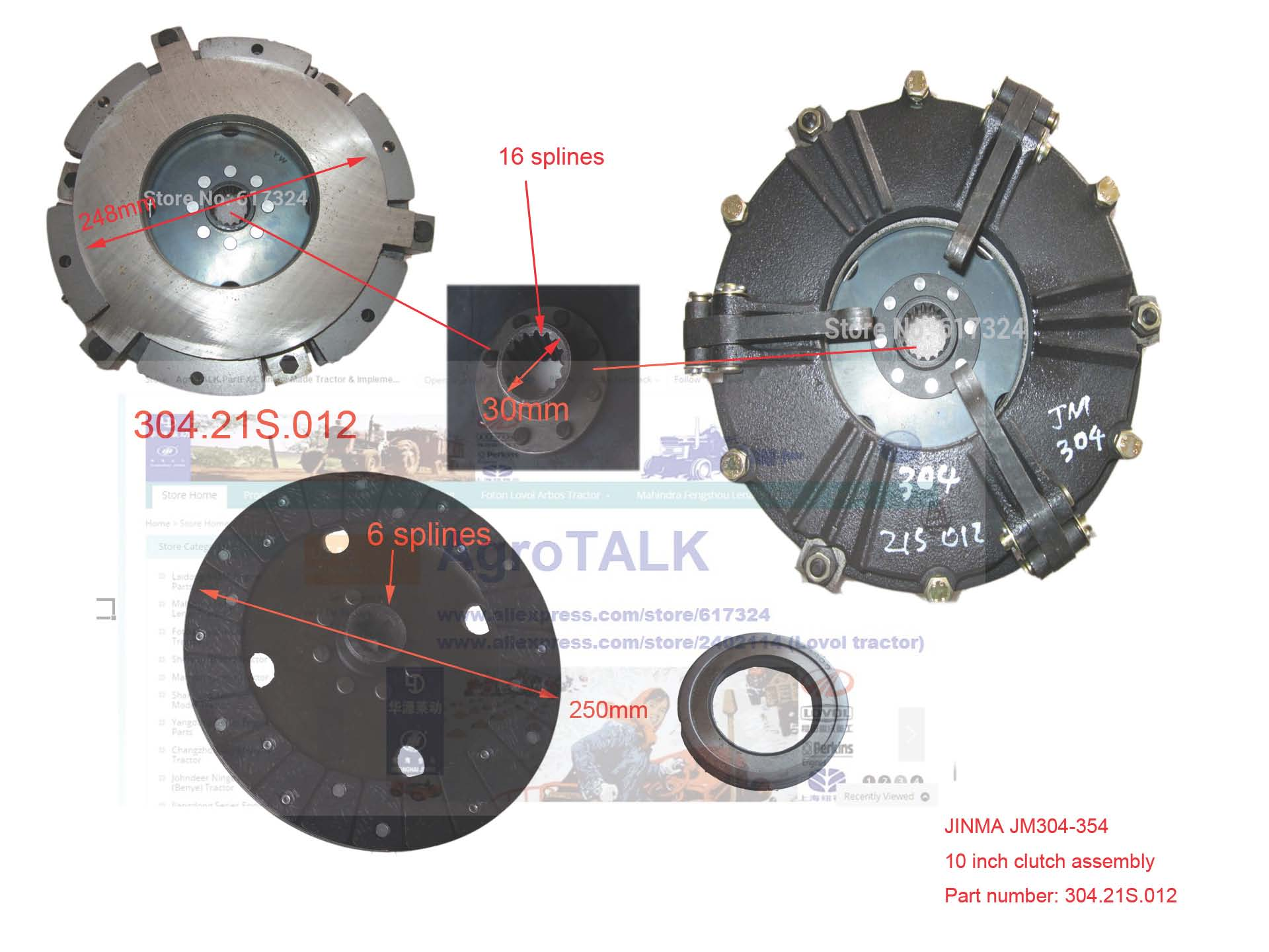 Embrague de dos etapas de 10 pulgadas con disco PTO y cojinete de liberación para tractor JINMA 304, número 304,21 S. 012