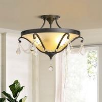 IWHD Crystal Ceiling Light Fixtures Retro LED Lamp Living Room Lamparas de Techo Iron Plafon Bedroom Plafonglamp Home Lighting