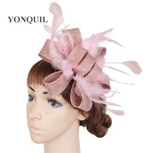 Peach Wedding Women Headwear Elegant Ladies Fascinator Hat Fancy Feather Decor Hair Accessories Bridal Mariage Party Headdress