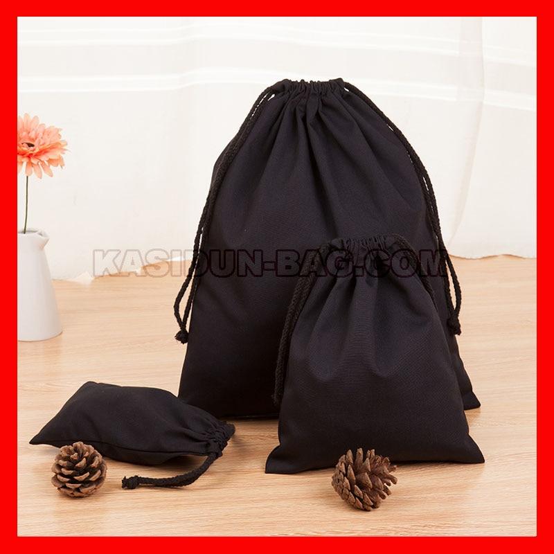 (500PCS/lot) customized natural black white  canvas cotton drawstring string bag