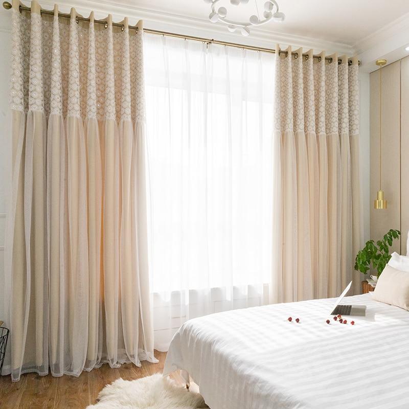 Chicity-ستائر غير شفافة لغرفة المعيشة ، عاجي ، طبقة مزدوجة ، ديزي ، دانتيل أبيض أنيق لغرفة النوم ، مخصصة للنساء