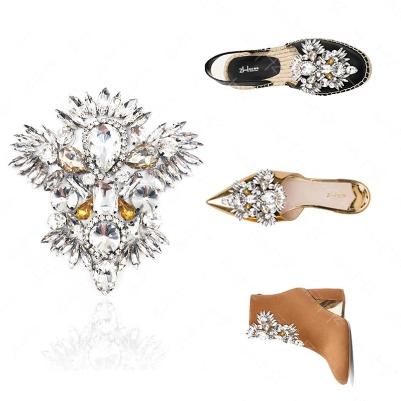 1 pçs cristal nupcial casamento festa sapatos acessórios sapatos de salto alto diy manual strass sapato decorações sapato flor aaaa7