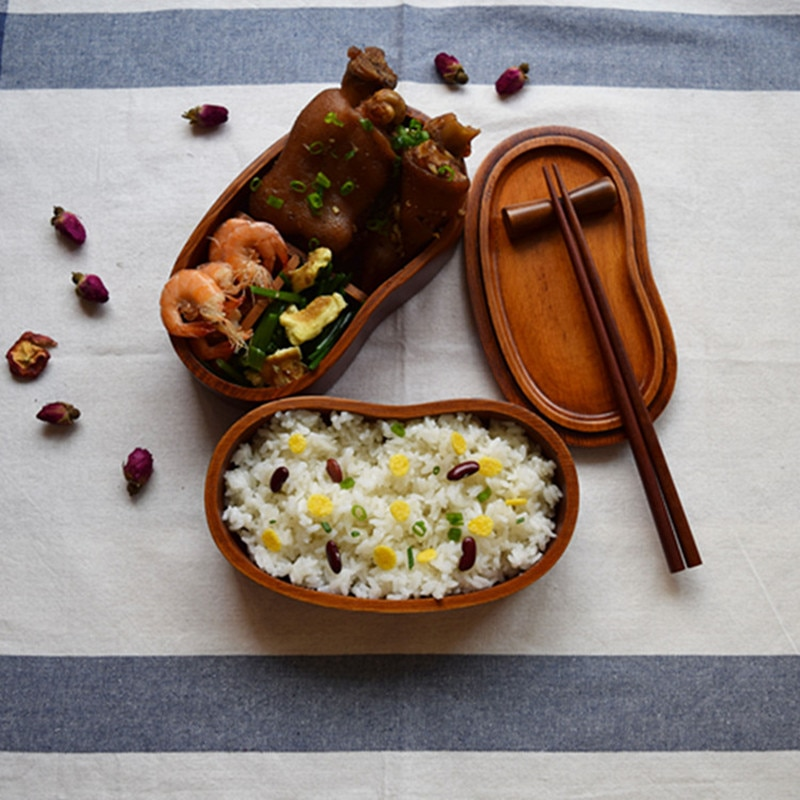 2 слоя в форме талии деревянная коробочка для обедов японские суши бенто Ланчбокс портативный пищевой контейнер для хранения фруктов посуд...