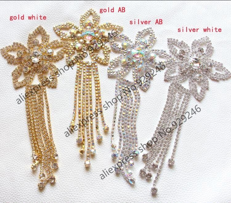 2pcs/lot Sewing On star crystal Rhinestone Applique with tassel fringe Silver gold ab Crystal Color DIY Wedding Evening Dress