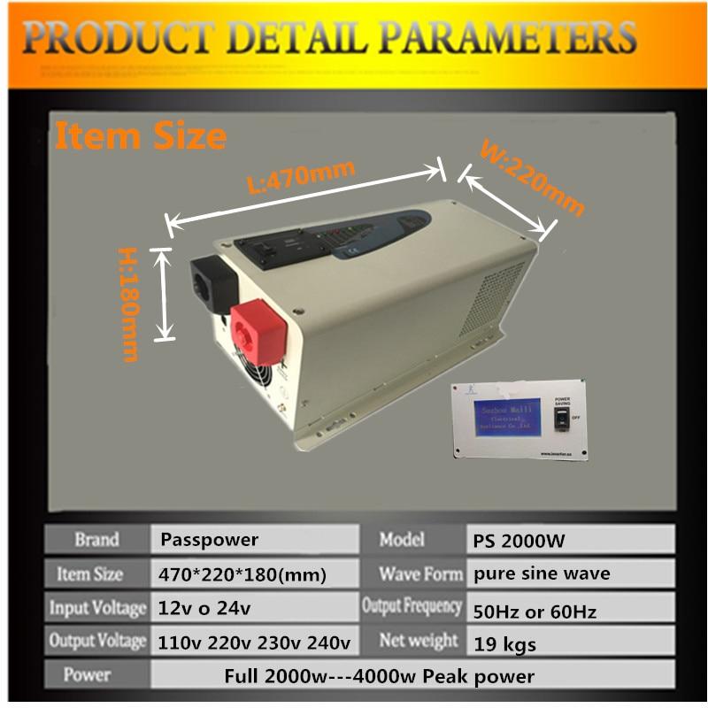 CE, ROHS, ISO9001 aprobado, baja frecuencia fuera de la red uso doméstico aire acondicionado inversor dc24v a ac240v inversor 2000w