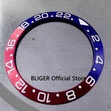 Luxe 38mm blauw rood bezel met witte marks fit 40mm horloge case SUB automatic horloge bezel BB5