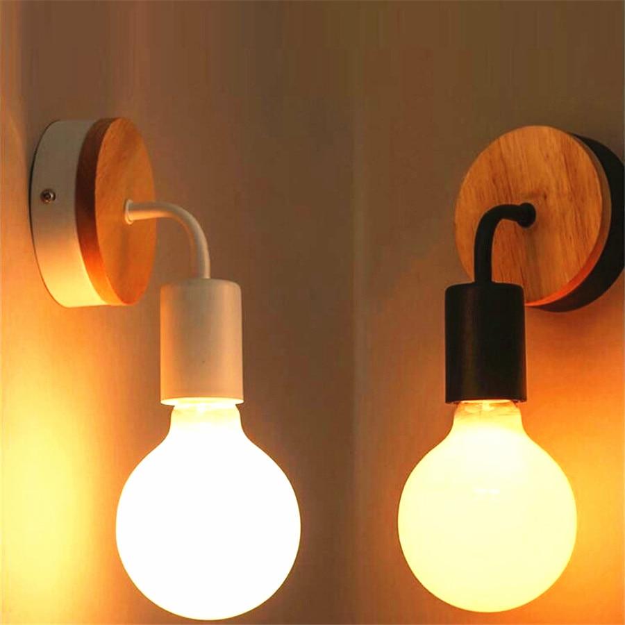 Lámpara de pared Simple moderna nórdica iluminación interior de madera maciza sala de estar restaurante dormitorio mesita de noche luces de pared espejo faro