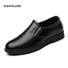 Aleafalling Classical Men's Quality Soft Leather Shoes Zapatos de hombre Size 39-44 Black Leather Soft Man Dress Shoes MDS04