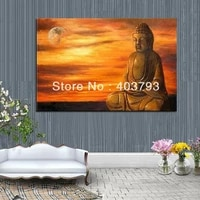 high quality modern abstract huge wall art oil painting on canvas buddha and sun free shipping