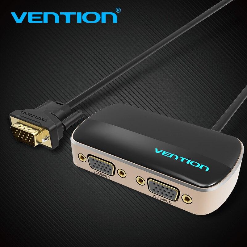 Vention 2 Port VGA الفاصل التبديل VGA 2 المدخلات إلى 1 الناتج الجلاد الموزع 1 الكمبيوتر يربط 2 شاشات نفس الصورة