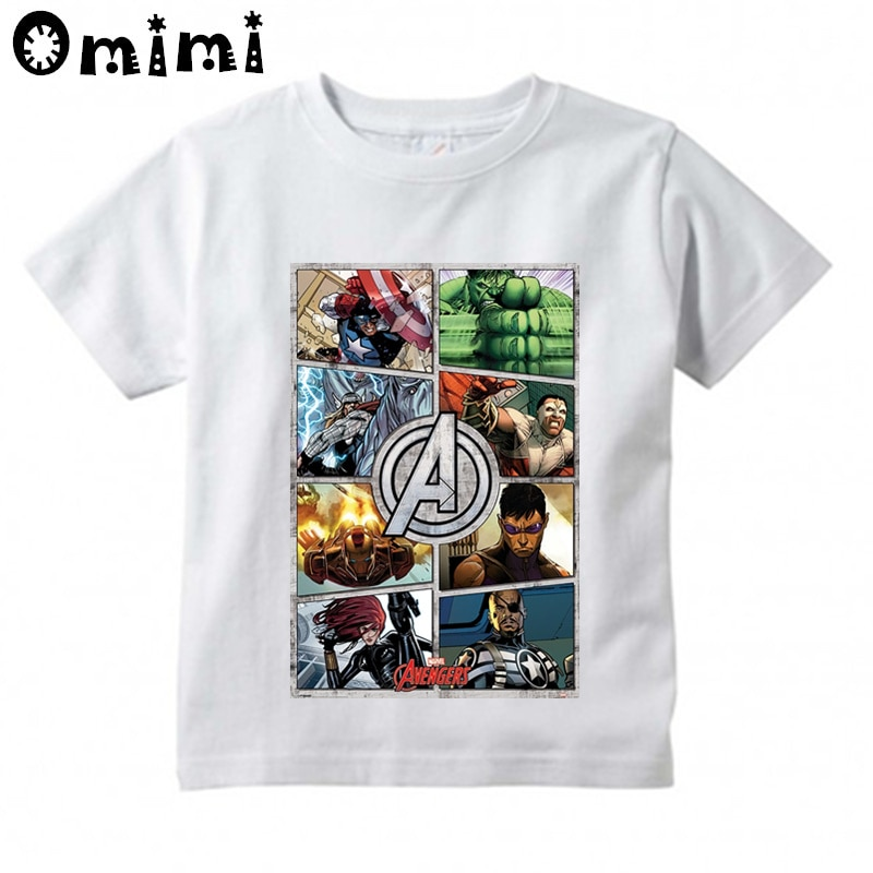 Camiseta nueva para niños Avengers Iron Man Thor, camiseta para niños, ropa, Tops de bebés chicos, traje de Hombre Araña, camiseta para niños, ooo4568