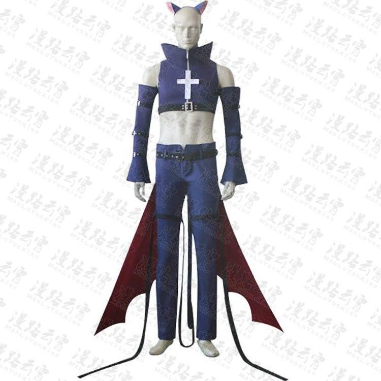 Shugo-Chara! Ikuto Tsukiyomi Yoru Costume Halloween Uniform Top+Pants+Sleeves+Cape+Tail+Headdress