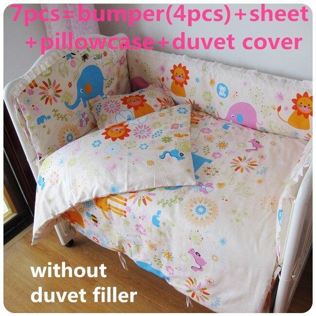 ¡Promoción! 6/7 Uds juego de cama para bebé selva juego de ropa de cama para cuna de bebé de algodón puro cama infantil de 120*60/120*70cm