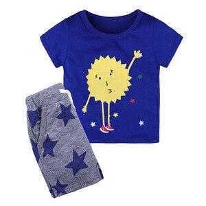 Summer Kids Boys T Shirt Sunny Print Short Sleeve Baby T-shirts Cotton Children T-shirt O-neck Stripe Tee Tops Boy Clothes