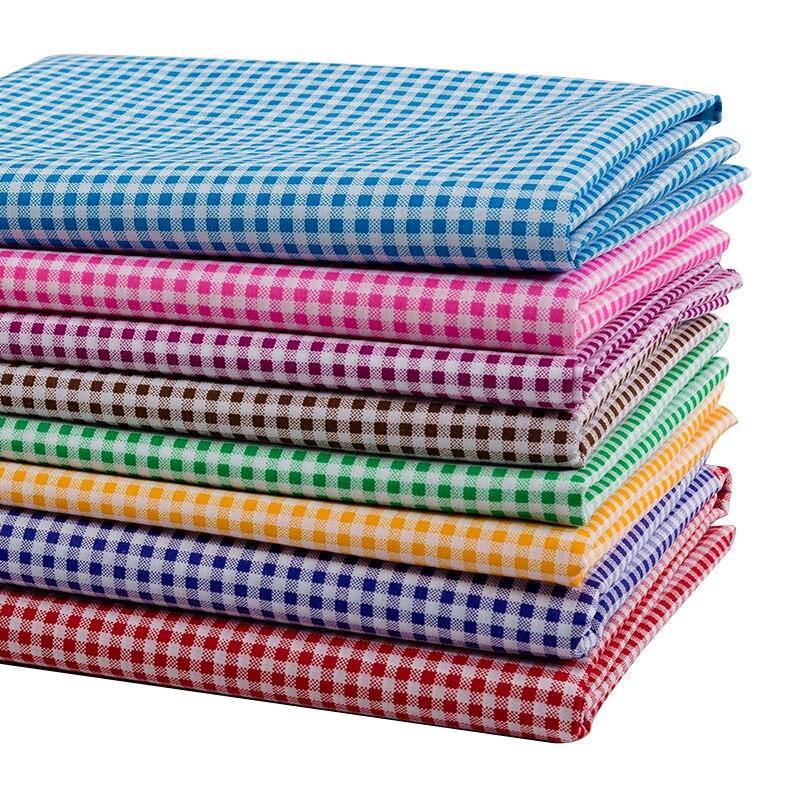 ткань Очень дешевая ткань с принтом в клетку, полиэстер, Лоскутная Ткань для шитья скатерти и украшения T7870