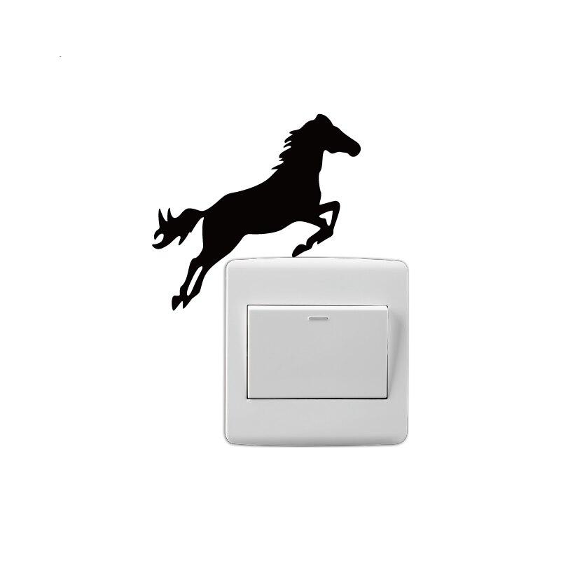 Ma-38 criativo cavalo de salto silhueta interruptor adesivo engraçado dos desenhos animados animal adesivo de parede papel de parede casa