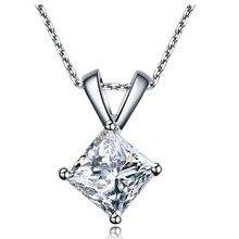 Sprzedaż hurtowa 18 K białe złoto pozłacane luksusowe jakości 2CT symulacji księżniczka wisiorek diamentowy Sterling Silver biżuteria sweter naszyjnik