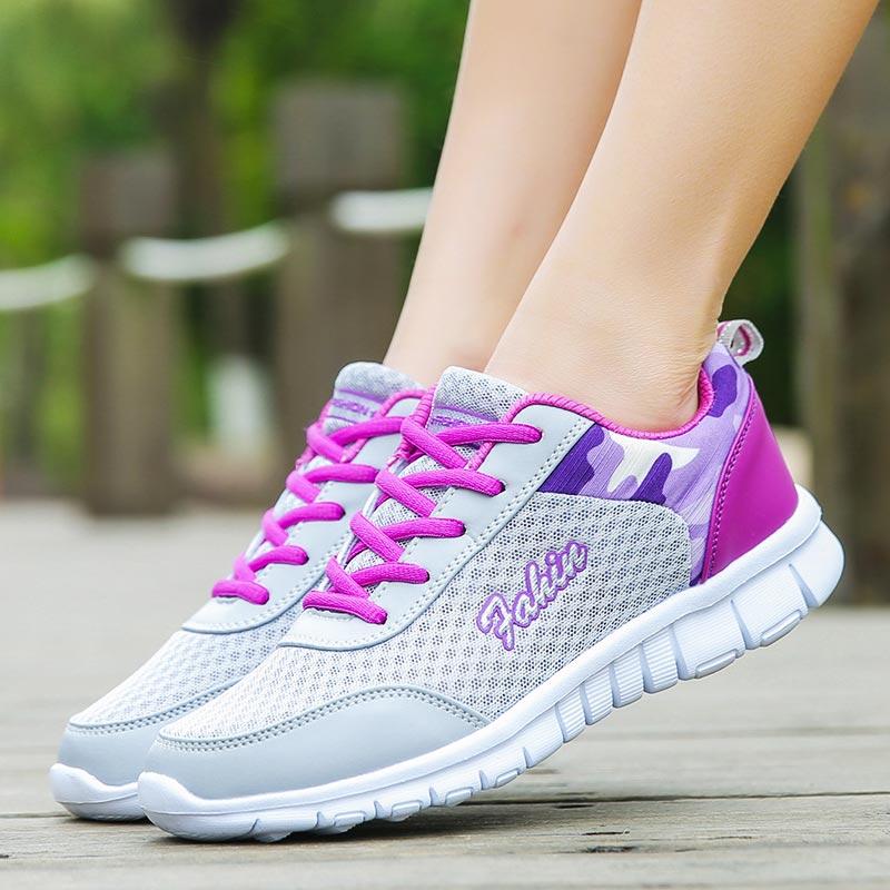 Sapato de corrida feminino, calçado esportivo de malha grande