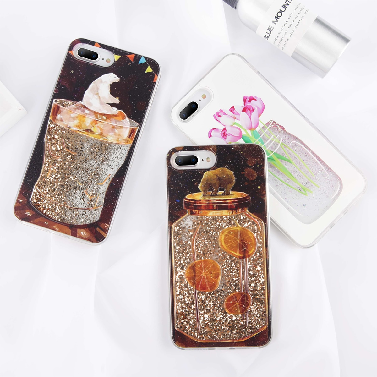 KJOEW Quicksand Animal fruta patrón lindo contraportada de dibujos animados de lujo caso para iPhone 6X6 S 7 8 Plus Funda Capa Coque Shell