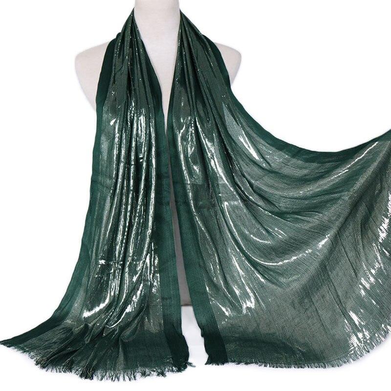 1 uds, hiyab Lurex liso con purpurina, bufanda suave con borlas y brillo, chal plateado musulmán de Color sólido, bufandas, cinta para el pelo de algodón, 180x63 Cm
