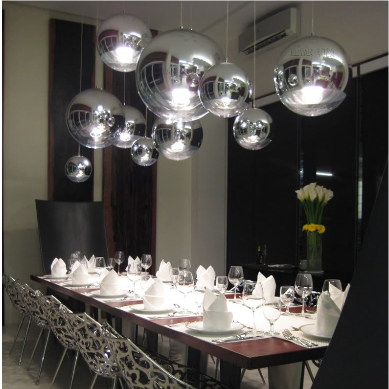 Modern Mirror Glass Ball Pendant Lights Restaurant Chrome Globle Pendant Lamps Kitchen Hanging Light Fixture Luminaira  - buy with discount