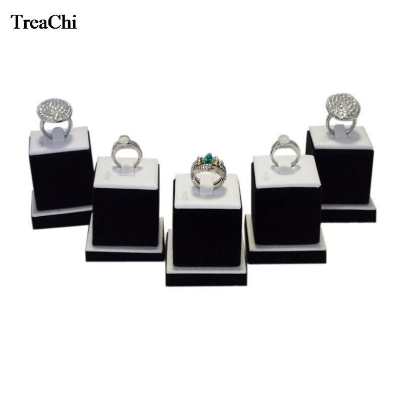 5 unids/lote de expositor de joyas de madera, blanco, negro, compromiso, anillo, organizador de almacenamiento, expositor